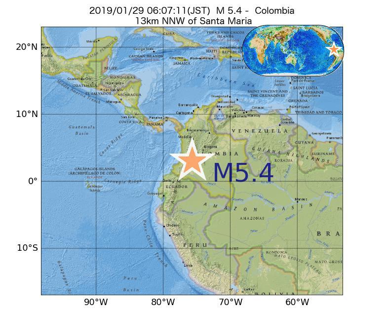 2019年01月29日 06時07分 - コロンビアでM5.4