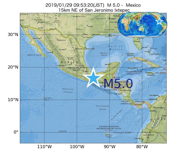 2019年01月29日 09時53分 - メキシコでM5.0