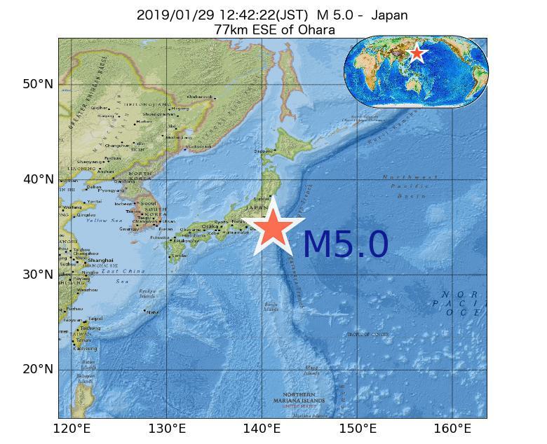 2019年01月29日 12時42分 - 日本でM5.0