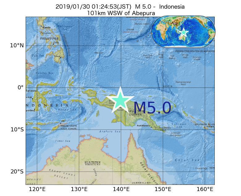 2019年01月30日 01時24分 - インドネシアでM5.0