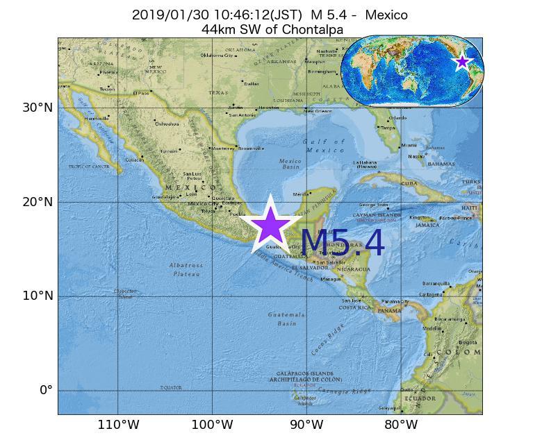 2019年01月30日 10時46分 - メキシコでM5.4