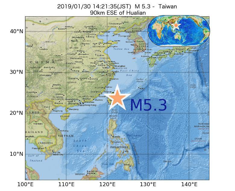 2019年01月30日 14時21分 - 台湾でM5.3