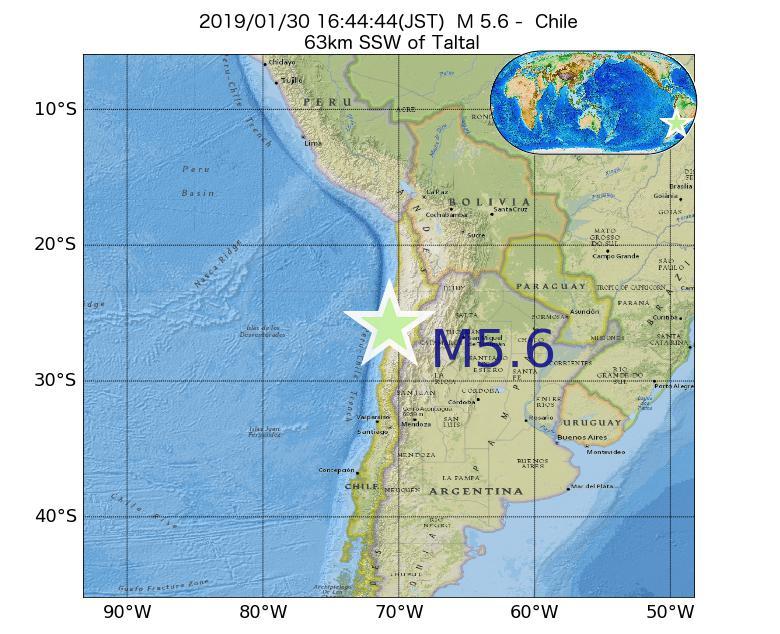 2019年01月30日 16時44分 - チリでM5.6