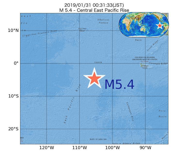 2019年01月31日 00時31分 - 中央東太平洋海嶺でM5.4