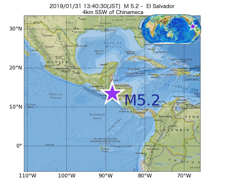 2019年01月31日 13時40分 - エルサルバドルでM5.2