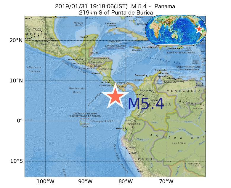 2019年01月31日 19時18分 - パナマ共和国でM5.4