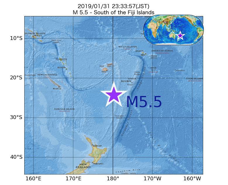 2019年01月31日 23時33分 - フィジー諸島の南でM5.5