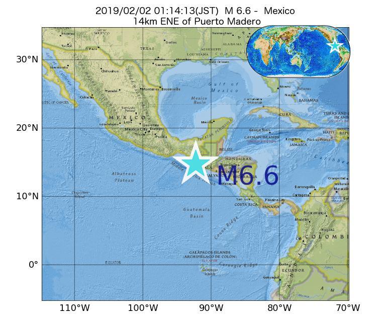 2019年02月02日 01時14分 - メキシコでM6.6