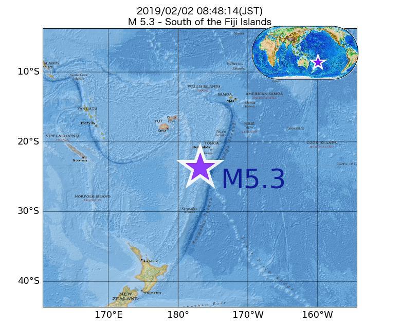 2019年02月02日 08時48分 - フィジー諸島の南でM5.3