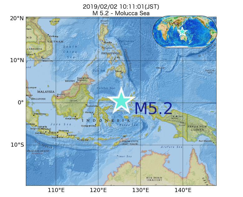 2019年02月02日 10時11分 - Molucca SeaでM5.2