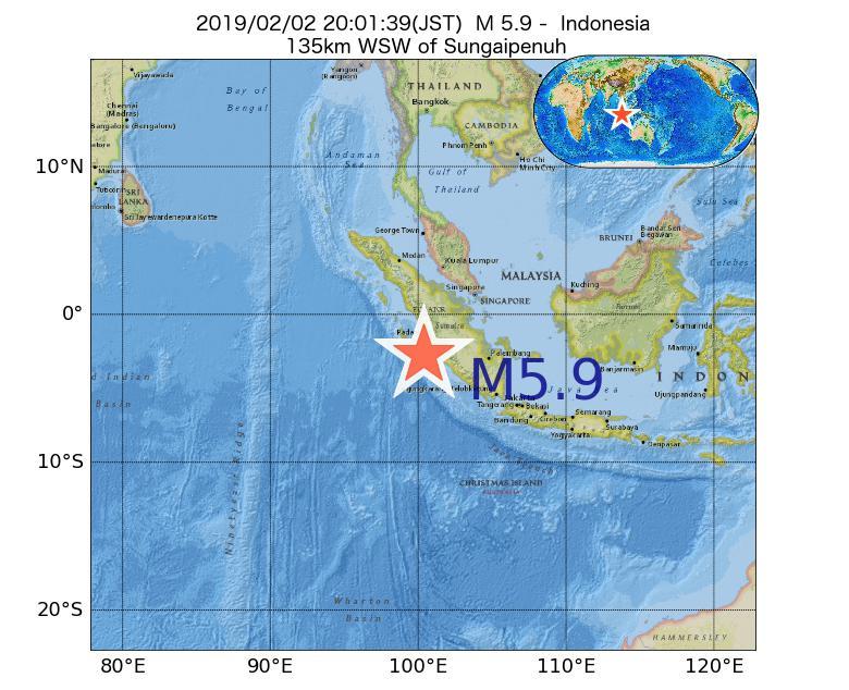 2019年02月02日 20時01分 - インドネシアでM5.9
