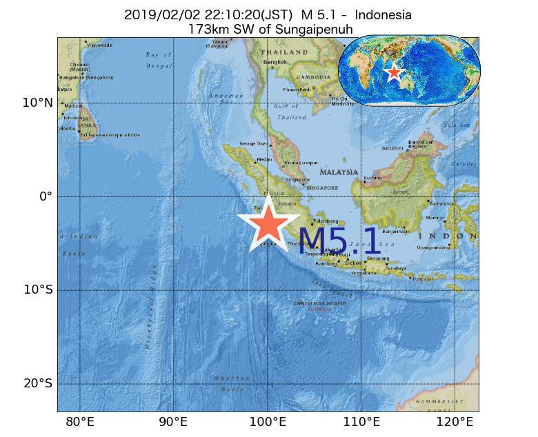 2019年02月02日 22時10分 - インドネシアでM5.1