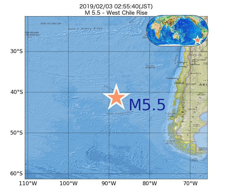 2019年02月03日 02時55分 - ガラパゴス諸島チリ海嶺でM5.5
