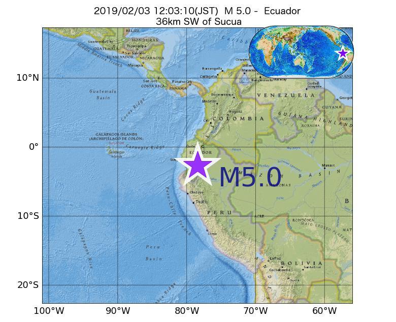 2019年02月03日 12時03分 - エクアドルでM5.0