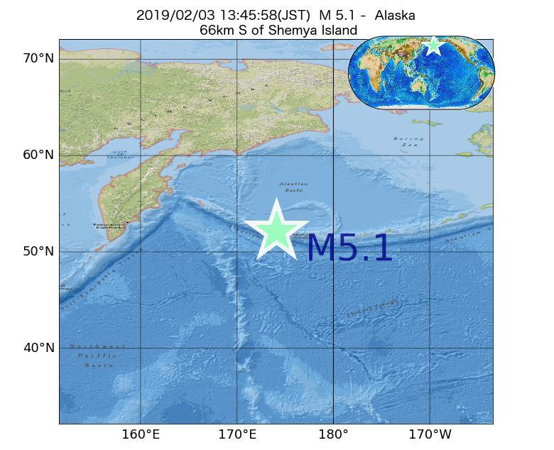 2019年02月03日 13時45分 - アラスカ州でM5.1