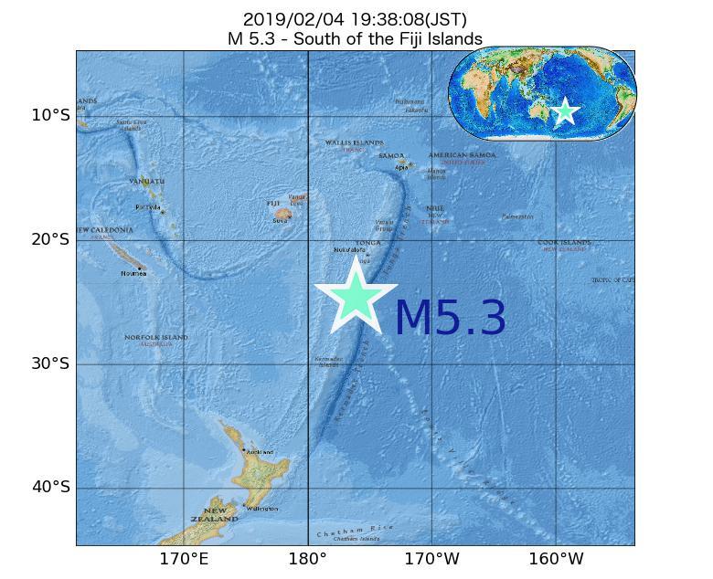 2019年02月04日 19時38分 - フィジー諸島の南でM5.3