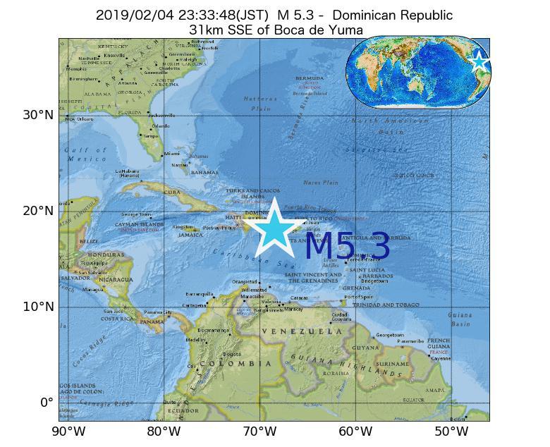 2019年02月04日 23時33分 - ドミニカ共和国でM5.3