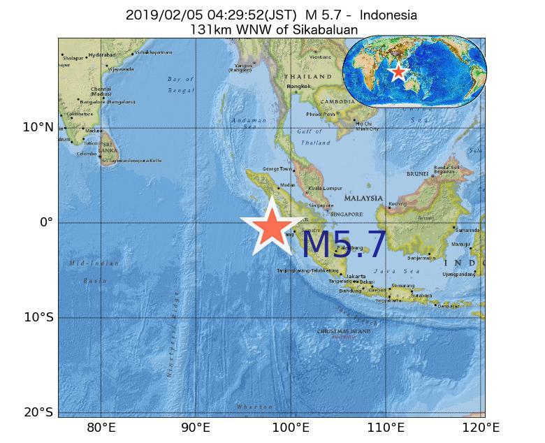 2019年02月05日 04時29分 - インドネシアでM5.7