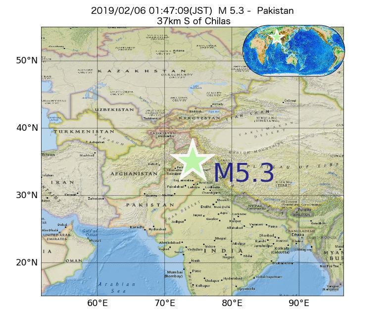 2019年02月06日 01時47分 - パキスタンでM5.3