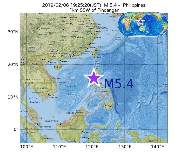2019年02月06日 19時25分 - フィリピンでM5.4