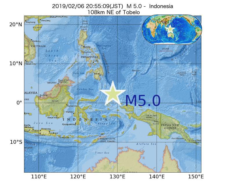 2019年02月06日 20時55分 - インドネシアでM5.0