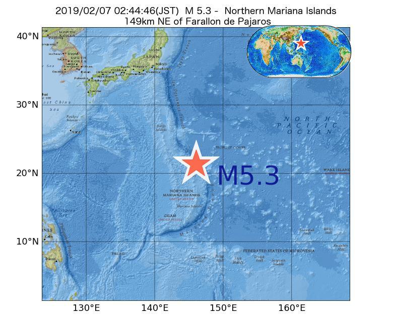 2019年02月07日 02時44分 - 北マリアナ諸島でM5.3