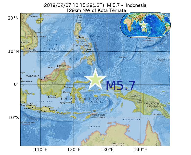 2019年02月07日 13時15分 - インドネシアでM5.7