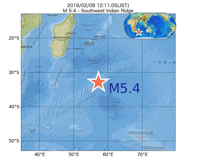 2019年02月08日 12時11分 - 南西インド洋海嶺でM5.4