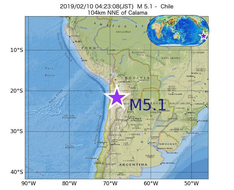 2019年02月10日 04時23分 - チリでM5.1