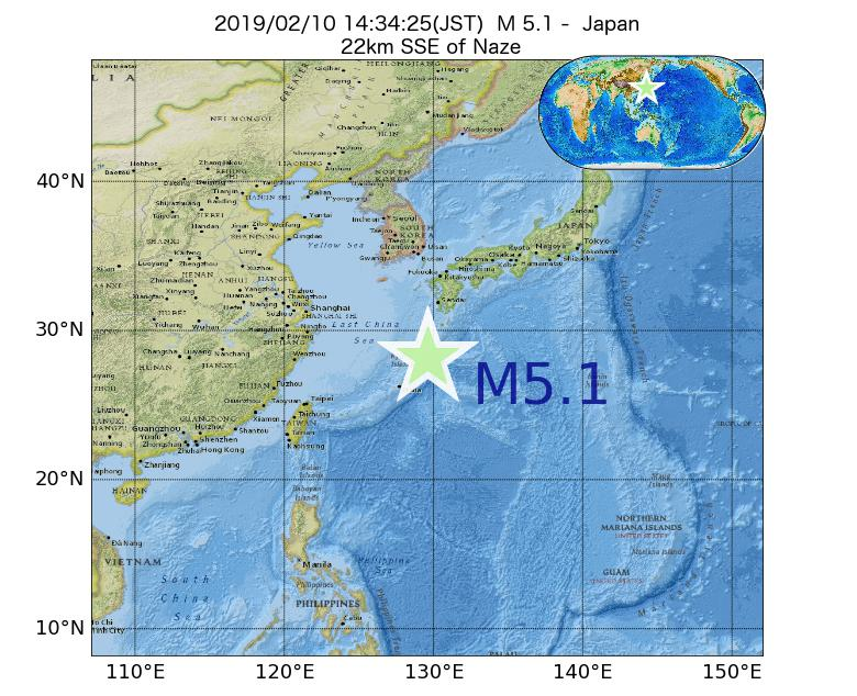 2019年02月10日 14時34分 - 日本でM5.1