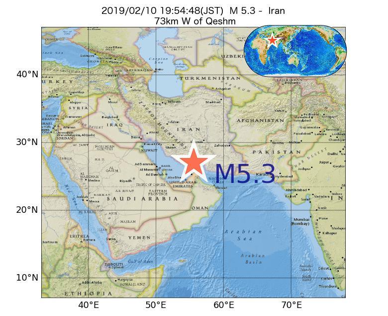 2019年02月10日 19時54分 - イランでM5.3