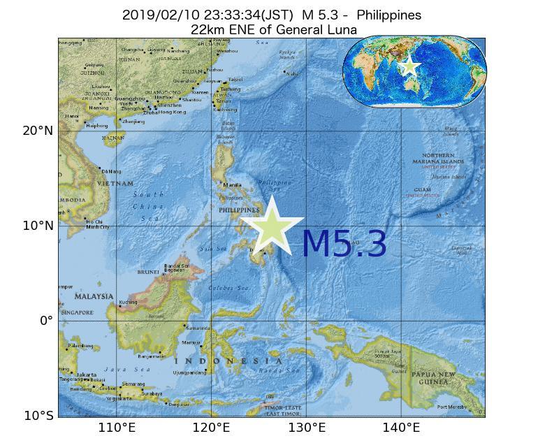 2019年02月10日 23時33分 - フィリピンでM5.3