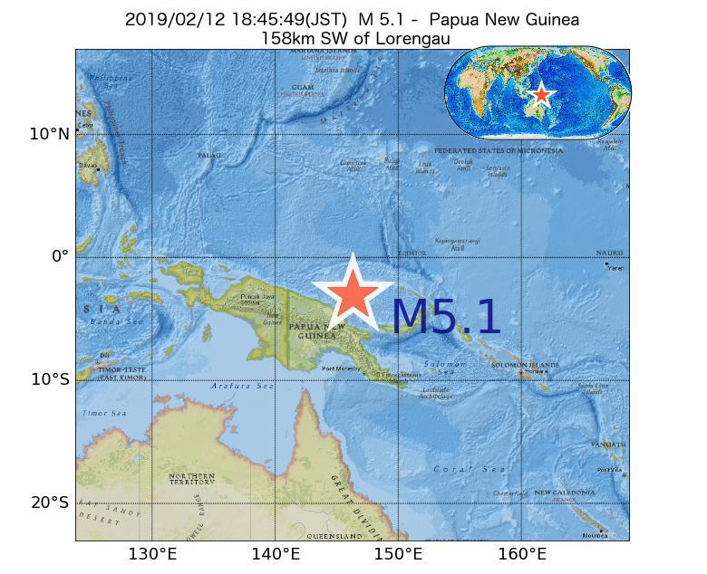 2019年02月12日 18時45分 - パプアニューギニアでM5.1