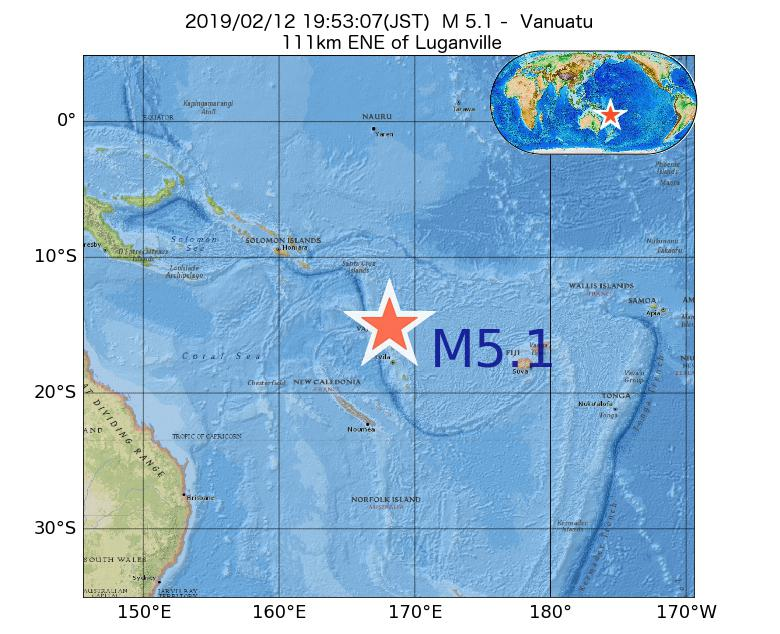 2019年02月12日 19時53分 - バヌアツ付近でM5.1