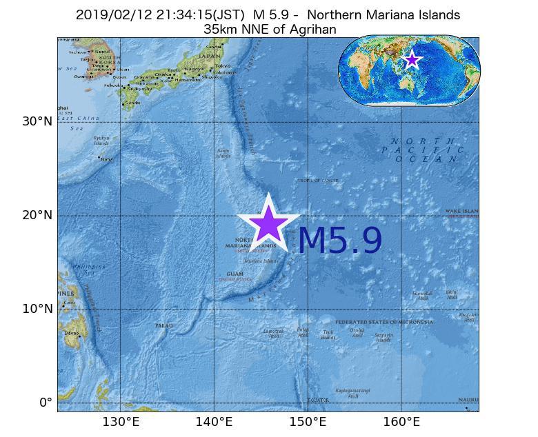 2019年02月12日 21時34分 - 北マリアナ諸島でM5.9