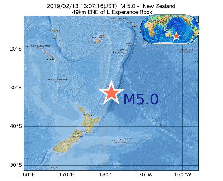 2019年02月13日 13時07分 - ニュージーランドでM5.0