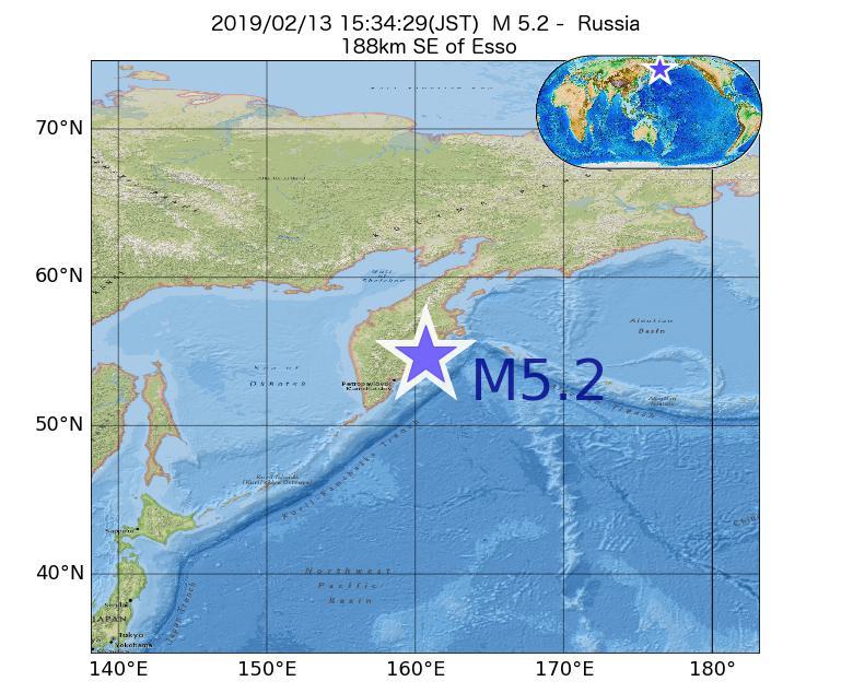 2019年02月13日 15時34分 - ロシアでM5.2