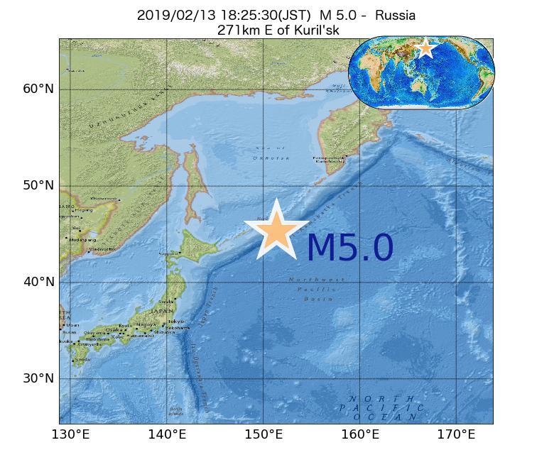 2019年02月13日 18時25分 - ロシアでM5.0