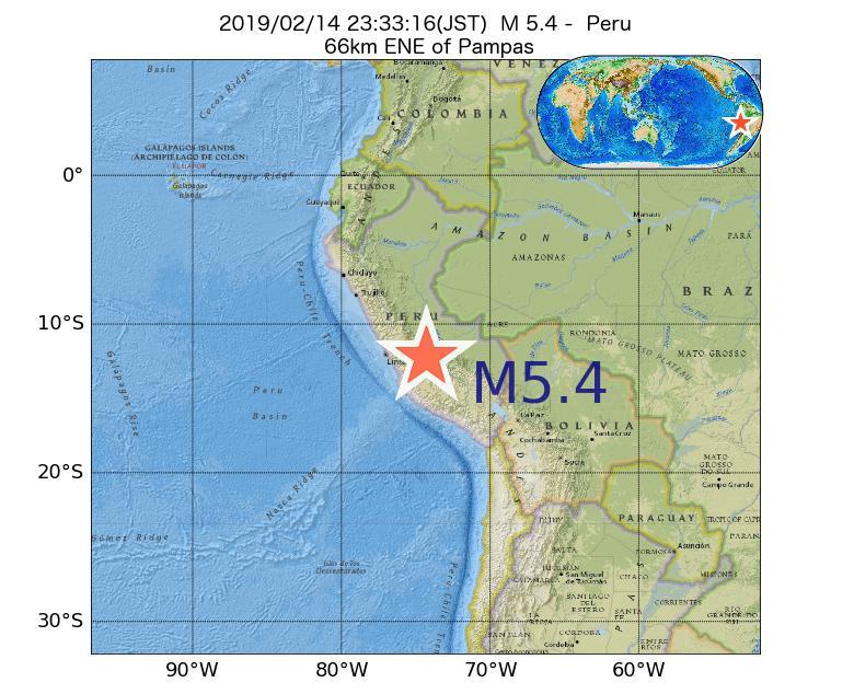 2019年02月14日 23時33分 - ペルーでM5.4