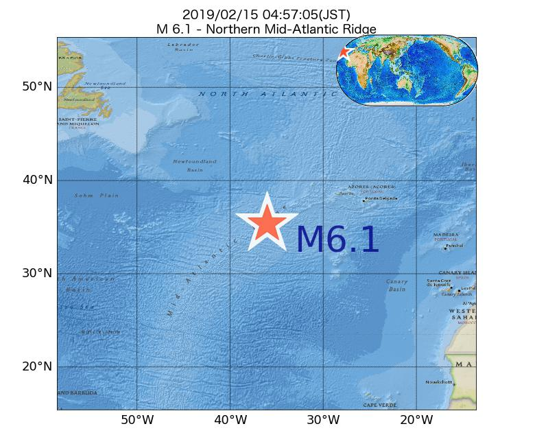2019年02月15日 04時57分 - 大西洋中央海嶺北部でM6.1