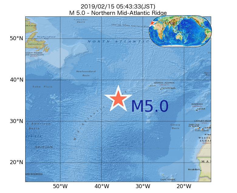 2019年02月15日 05時43分 - 大西洋中央海嶺北部でM5.0