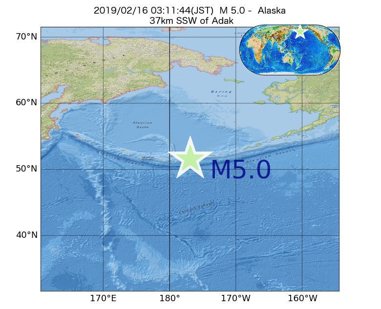 2019年02月16日 03時11分 - アラスカ州でM5.0