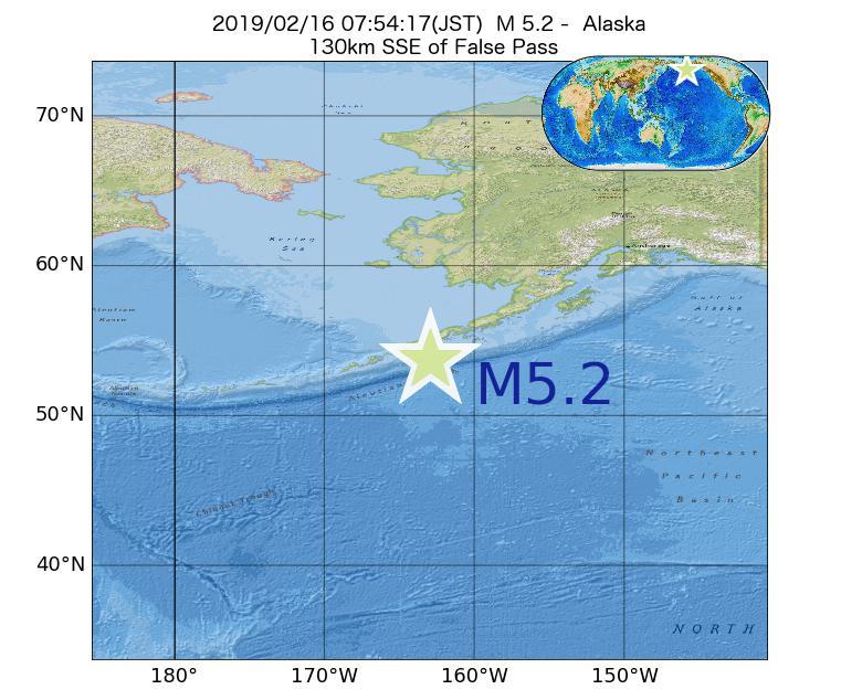 2019年02月16日 07時54分 - アラスカ州でM5.2