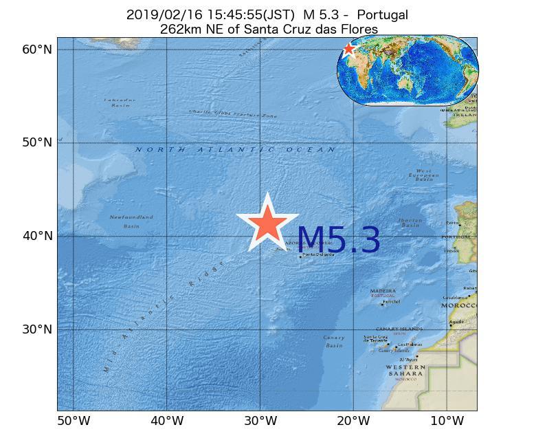 2019年02月16日 15時45分 - ポルトガルでM5.3