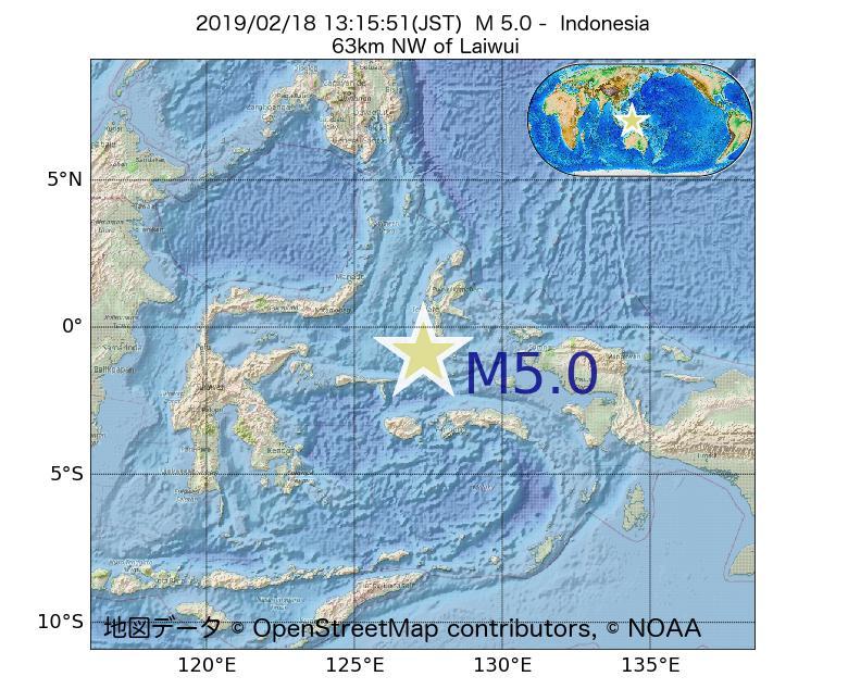 2019年02月18日 13時15分 - インドネシアでM5.0