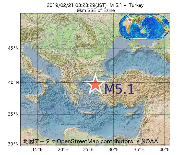 2019年02月21日 03時23分 - トルコでM5.1