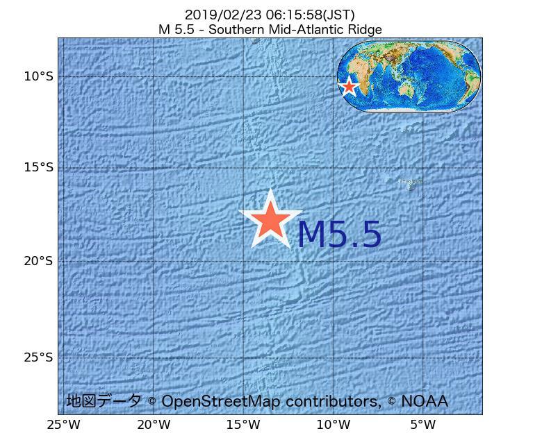 2019年02月23日 06時15分 - 大西洋中央海嶺でM5.5