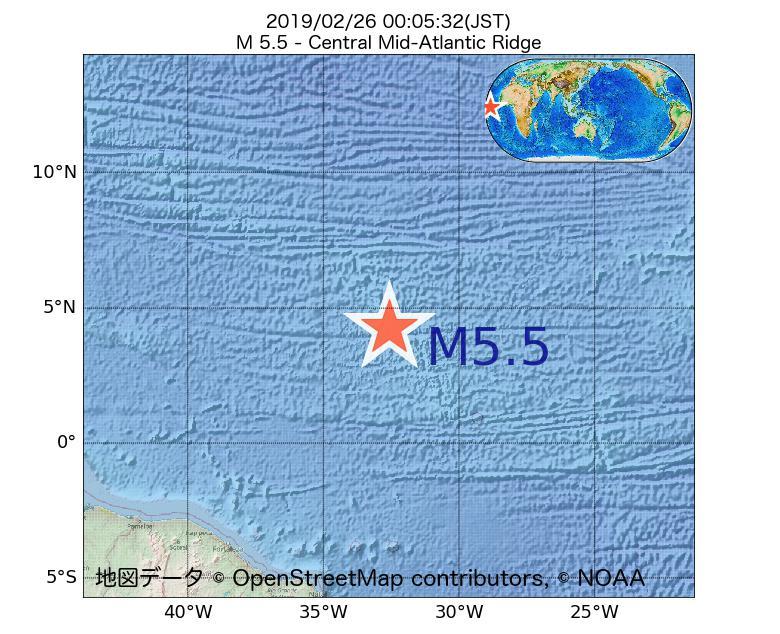 2019年02月26日 00時05分 - 大西洋中央海嶺でM5.5