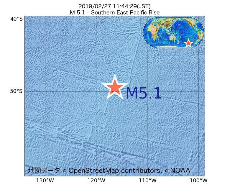 2019年02月27日 11時44分 - 東太平洋海嶺南方でM5.1