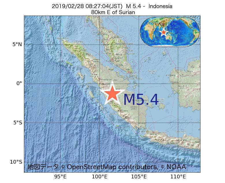 2019年02月28日 08時27分 - インドネシアでM5.4